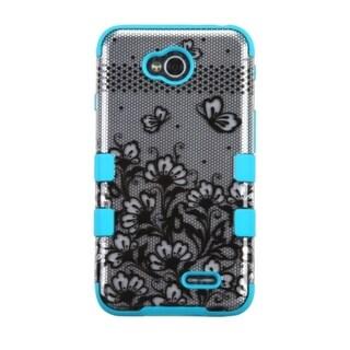 INSTEN Blue/ Black Flower Tuff Hybrid Hard Silicone Phone Case Cover For LG Optimus Exceed 2 Verizon/ Optimus L70/ Realm