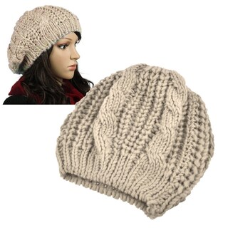 Zodaca Unisex Winter Knit Crochet Beanie (Option: Beige)