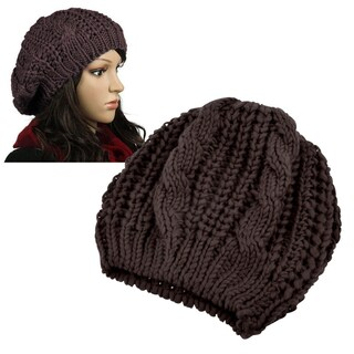 Zodaca Unisex Winter Knit Crochet Beanie (Option: Brown)