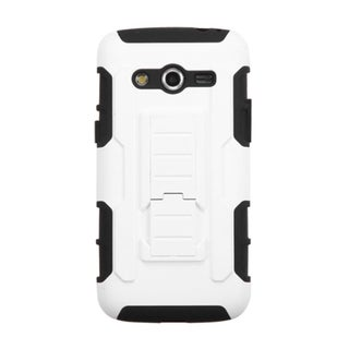 INSTEN White/ Black Car Armor Dual Layer Hybrid Stand Rubberized Hard PC/ Silicone Phone Case Cover For Samsung Galaxy Avant