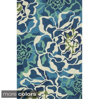 Hand-hooked Indoor/ Outdoor Capri Floral Multi Rug (5'0 x 7'6)