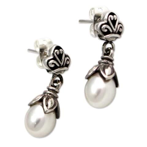 NOVICA Handmade Sterling Silver 'White Lotus Bud' Pearl Earrings (Indonesia)