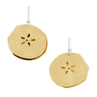 Handmade Gold Plated Sterling Silver 'Fossil Flower' Earrings (Mexico)