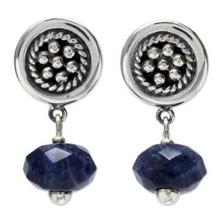 Handmade Sterling Silver Andean Dewdrops Sodalite Dangle Earrings (Peru)