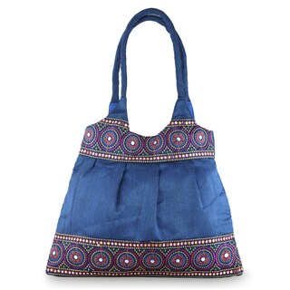 Handcrafted Embellished 'Blue and Rose Mandalas' Shoulder Bag (India)