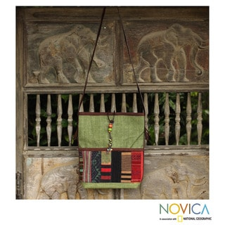 Handmade Cotton and Leather Accent 'Jade Rhythm' Shoulder Bag (Thailand)