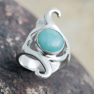 Handcrafted Sterling Silver 'Classic Curves' Amazonite Ring (Peru)