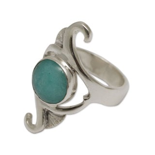 Handmade Sterling Silver 'Classic Curves' Amazonite Ring (Peru)