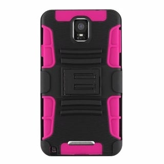 INSTEN Hot Pink/ Black Dual Layer Hybrid Stand Rubberized Hard PC/ Silicone Holster Phone Case Cover For Samsung Galaxy Note 4