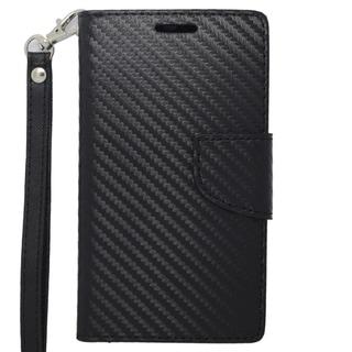INSTEN Black Carbon Fiber Stand Folio Flip Leather Wallet Phone Case Cover For Motorola Moto G
