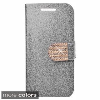 INSTEN Stand Folio Flip Glitter Leather Phone Case Cover With Diamond For Samsung Galaxy Avant