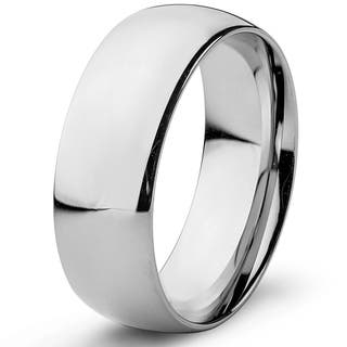 High Polished Stainless Steel Domed Wedding Band Ring (8mm)