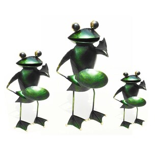 Handmade D-Art Iron Frog 3-piece Candle Holder Set (Indonesia)