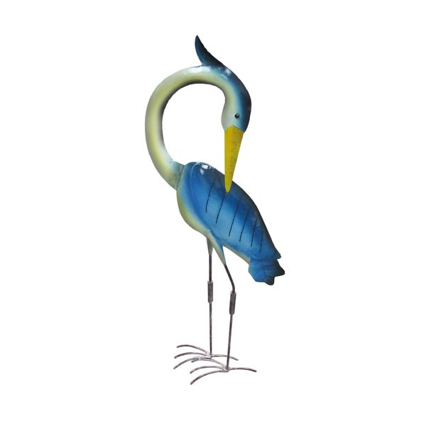 Handmade D-Art Blue Iron Egret Decor (Indonesia)