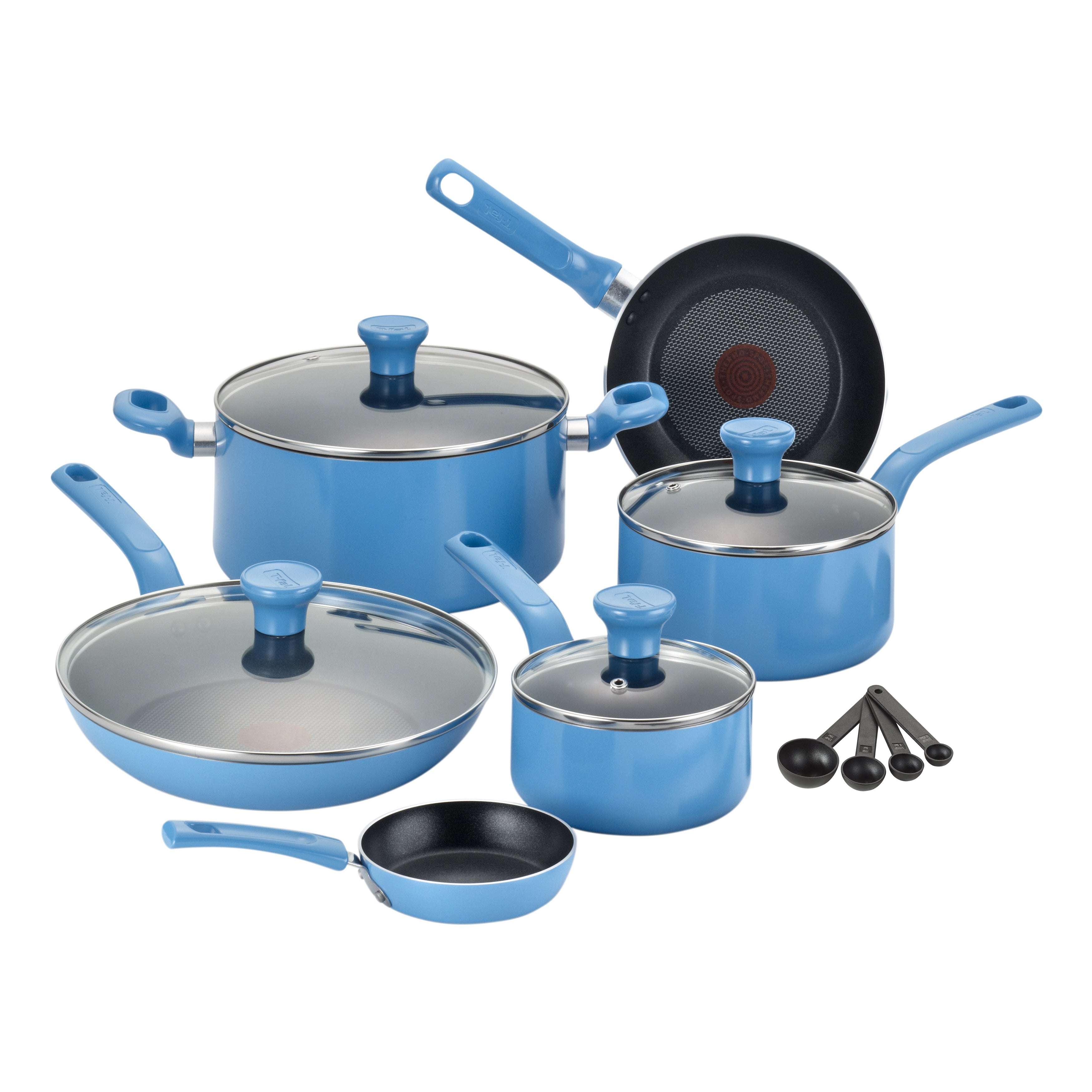T-FAL Excite Blue 14-piece Non-stick Cookware Set (Blue) ...