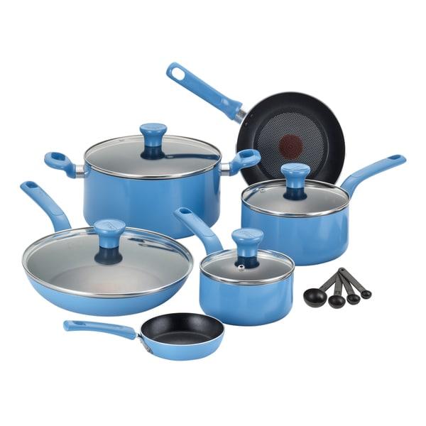 Shop T Fal Excite Blue 14 Piece Non Stick Cookware Set