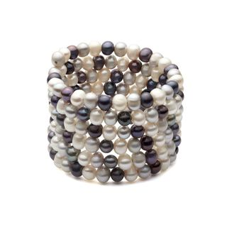 Freshwater Pearls in White, Grey and Black Coil Bangle (6-7 mm)
