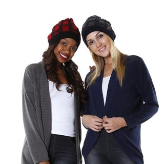 Hadari Women's Red and Navy Casual Knit Beanie (Set of 2)
