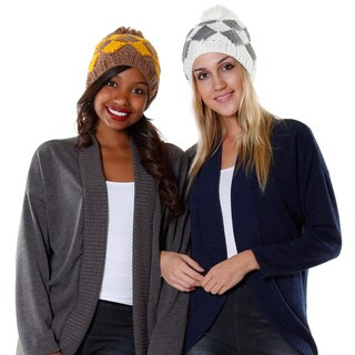 Hadari Women's Casual Diamond Plaid Beanie (Set of 2)