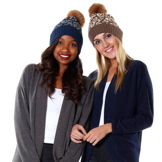 Hadari Women's Cheetah Print Casual Beanie (Set of 2)