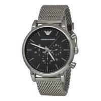Emporio Armani Men's AR1808 Classic Black Chronograph Stainless Steel Watch - silver