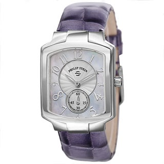 Philip Stein Women's 21-FMOP-LAPR 'Signature' Mother of Pearl Dial Purple Leather Strap Quartz Watch
