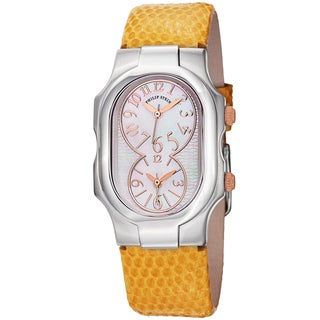 Philip Stein Women's 'Signature' Mother of Pearl Dial Yellow Leather Strap Quartz Watch