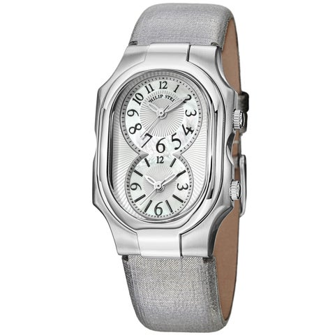 Philip Stein Women's 'Signature' Mother Of Pearl Dial Dual Time Metallic Strap Watch