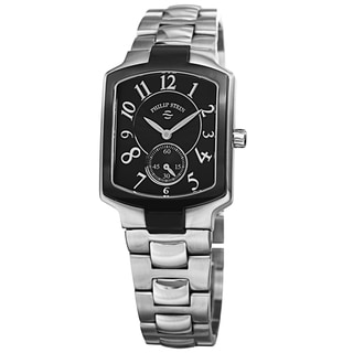Philip Stein Women's 21TB-FB-SS3 'Signature' Black Dial Two Tone Stainless Steel Quartz Watch