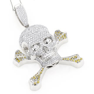 Luxurman 14k White Gold 10.62ct TDW White Yellow Diamond Skull Pendant