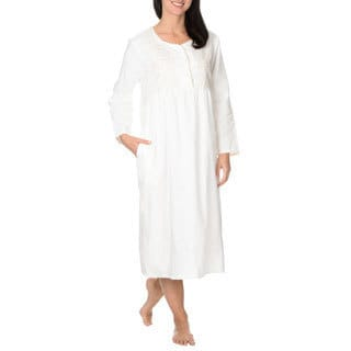 La Cera Women's Embroidered Brushed Cotton Nightgown