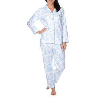 La Cera Women's Floral Printed Brushed Cotton 2-piece Pajama Set