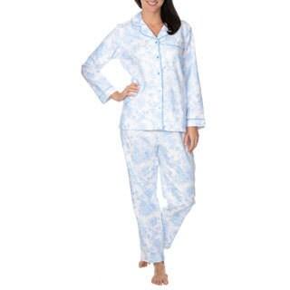 La Cera Women's Floral Printed Brushed Cotton 2-piece Pajama Set