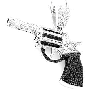 Luxurman 14k White Gold 9 1/2ct TDW Diamond Revolver Pistol Pendant (H-I, SI1-SI2)