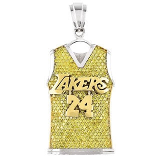 Luxurman 14k White Gold 5 4/5ct TDW Yellow Diamond LA Lakers Jersey Pendant (SI1-SI2)
