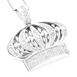 Luxurman 14k Gold 1 3/8ct Men's Crown Diamond Pendant (H-I, SI1-SI2)