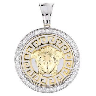 Luxurman 14k Two-tone Gold 1ct TDW Diamond Pendant