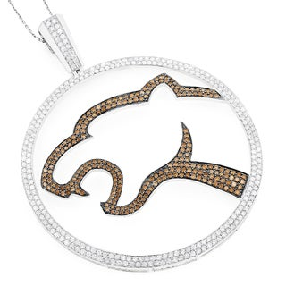 Luxurman 18k White Gold 4.48ct White and Brown Diamond Leopard Pendant (Brown VS1-VS2, G-H, VS1-VS2)