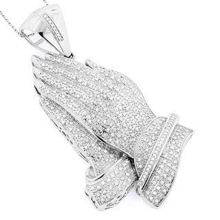 Luxurman 14K Gold Diamond 2.875 Praying Hands Pendant