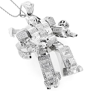 Luxurman 10K White Gold 2.50ct TDW Diamond Transformer Pendant (H-I, SI1-S12)