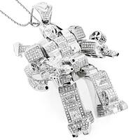 Luxurman 10K White Gold 2.50ct TDW Diamond Transformer Pendant