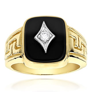 Luxurman 14k Gold 0.10ct TDW Men's Black Onyx and Diamond Ring (H-I, SI1-SI2)