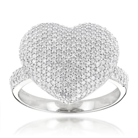 Luxurman 14k Gold 1 1/6ct TDW Pave Diamond Heart Ring