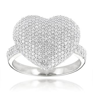 Luxurman 14k Gold 1 1/6ct TDW Pave Diamond Heart Ring