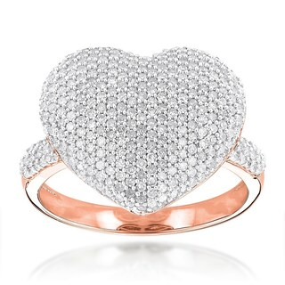 Luxurman 14k Gold 1 1/6ct TDW Pave Diamond Heart Ring (More options available)