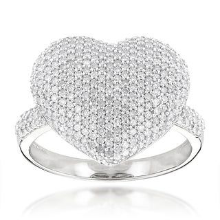 Luxurman 14k Gold 1 1/6ct TDW Pave Diamond Heart Ring (H-I, SI1-SI2)