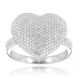 Luxurman 14k Gold 1 1/6ct TDW Pave Diamond Heart Ring (H-I, SI1-SI2)