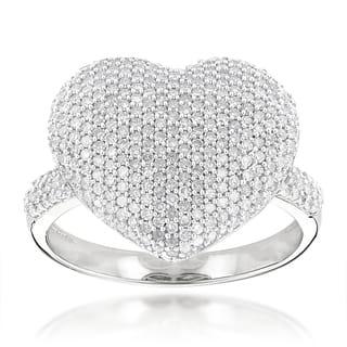 Luxurman 14k Gold 1 1/6ct TDW Pave Diamond Heart Ring|https://ak1.ostkcdn.com/images/products/9672579/P16852927.jpg?impolicy=medium