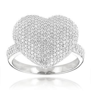 Luxurman 14k Gold 1 6ct TDW Pave Diamond Heart Ring