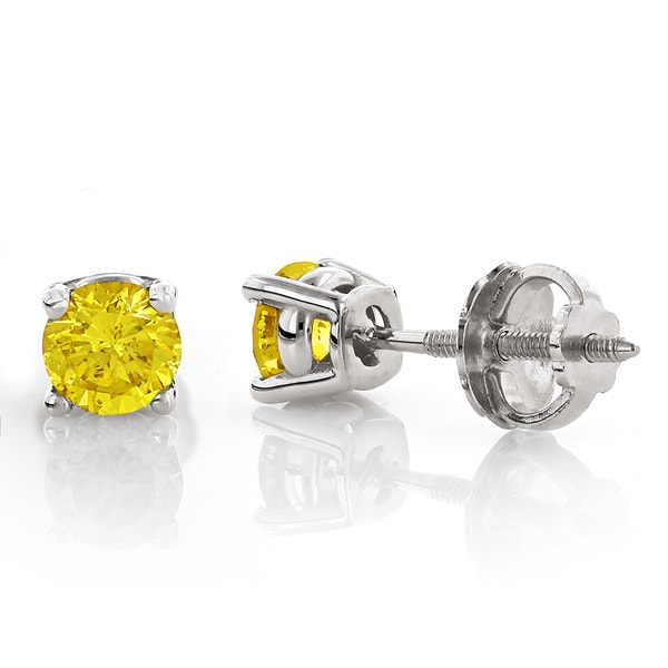 8360769950a Shop Luxurman 14k White Gold 1/2ct TDW Yellow Diamond Stud Earrings ...